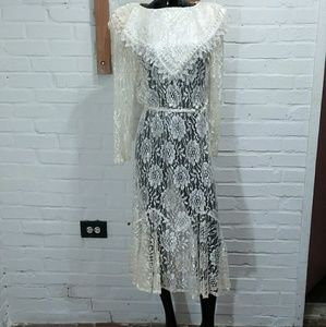 Vtg Floral Lace Overlay Dress
